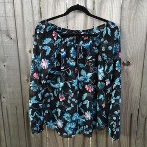 Whbm floral long sleeve blouse